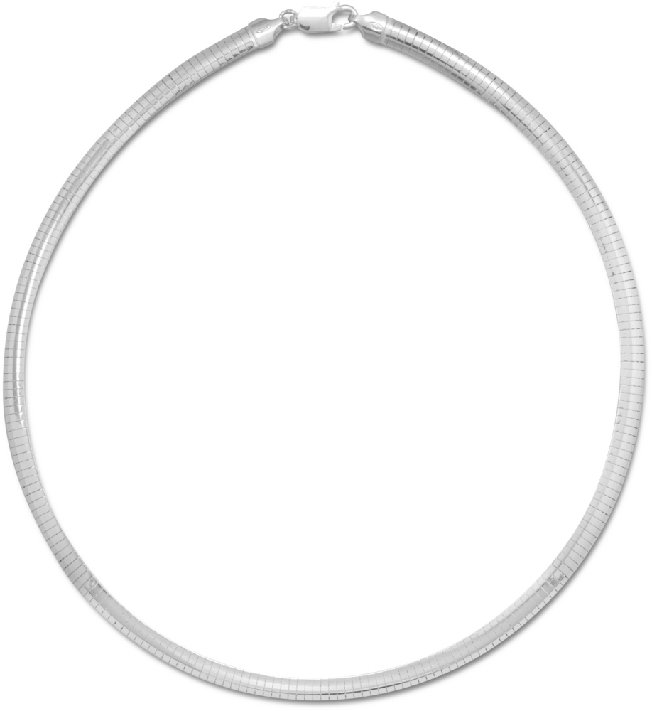 "20"" 6mm (1/4"") Domed Omega Necklace 925 Sterling Silver"