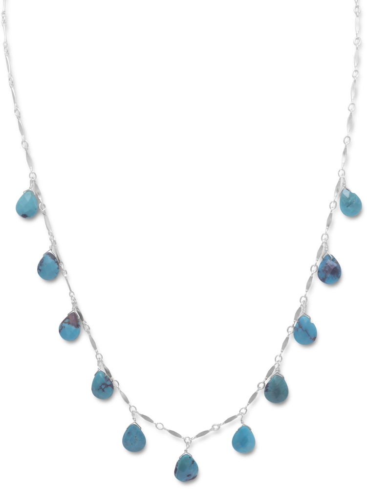 "16"" Necklace with 11 Faceted Turquoise Drops 925 Sterling Silver - DISCONTINUED"