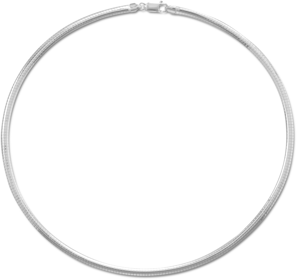 "18"" 4mm (1/6"") Domed Omega Necklace 925 Sterling Silver"