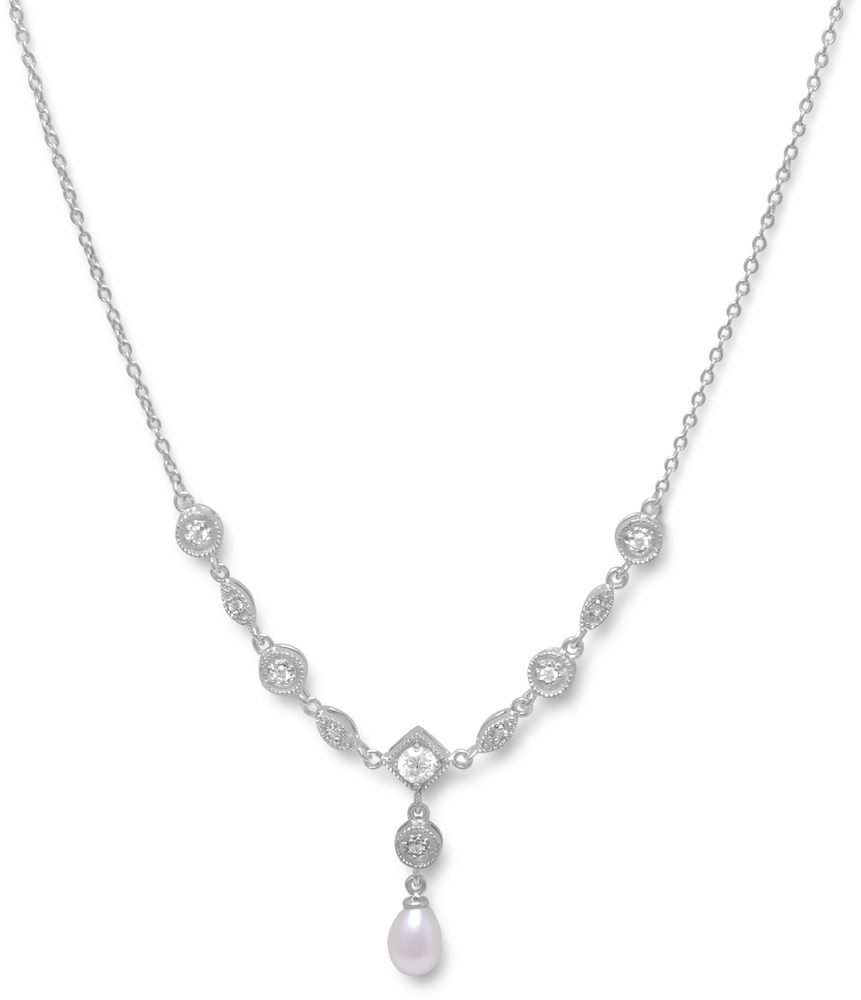 "16"" Rhodium Plated Cultured Freshwater Pearl & Marquise/Round CZ Necklace 925 Sterling Silver"
