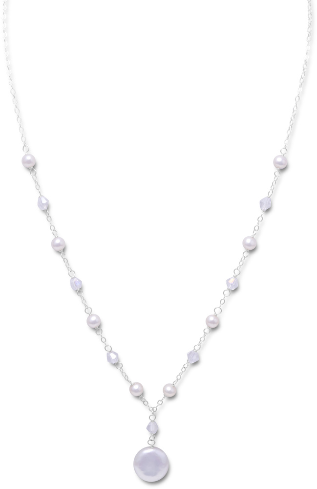 "16"" + 2"" Extension White Coin Cultured Freshwater Pearl and Crystal Necklace 925 Sterling Silver"
