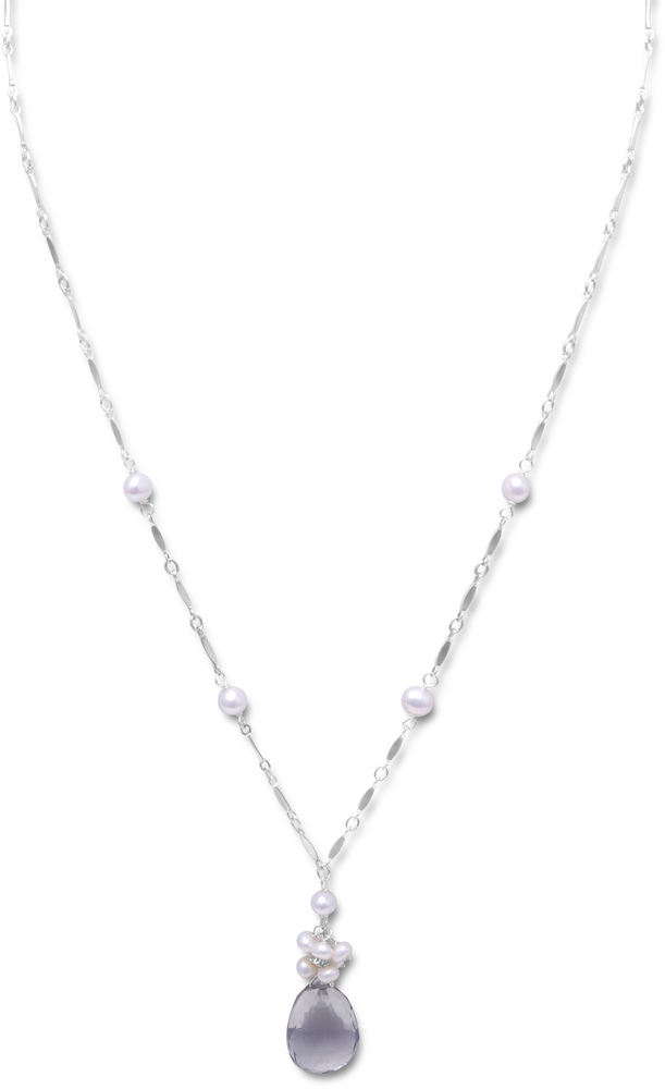 "16""+2"" Extension Necklace with Green Amethyst and Cultured Freshwater Pearls 925 Sterling Silver"
