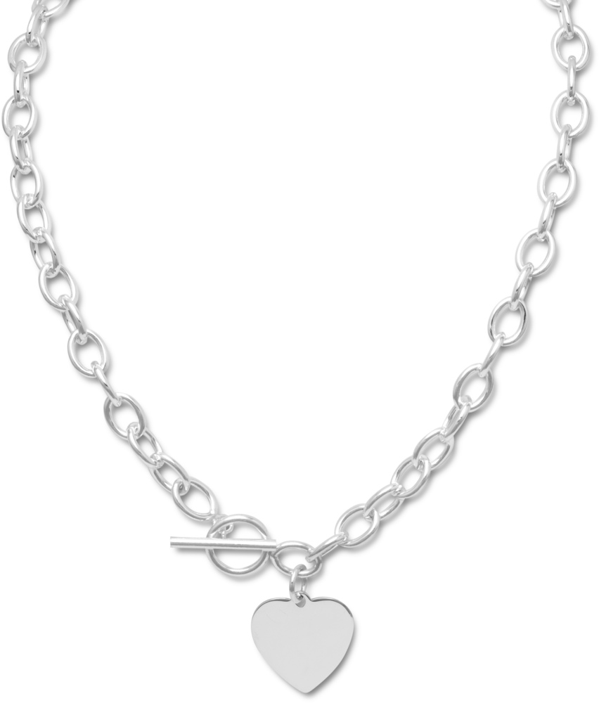 "17"" Toggle Necklace with Heart Tag 925 Sterling Silver"