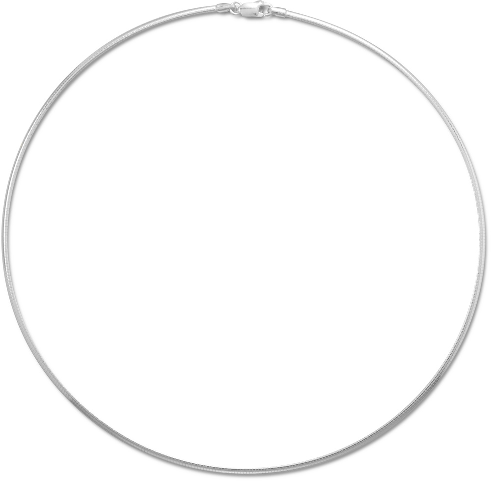 "16"" 2mm (0.08"") Domed Omega Necklace 925 Sterling Silver"