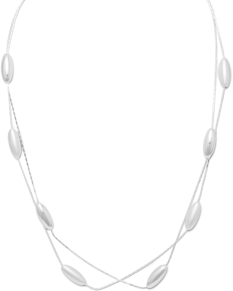 "18"" Double Strand Beaded Necklace 925 Sterling Silver"