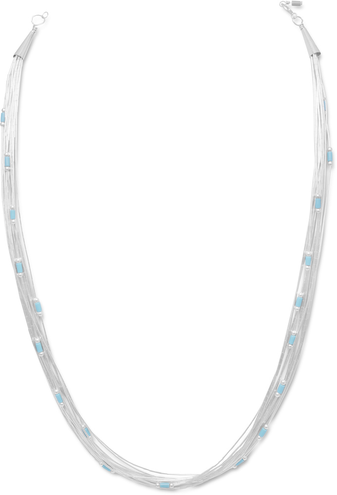 "16"" + 4"" Multistrand Liquid Silver Necklace with Turquoise 925 Sterling Silver"