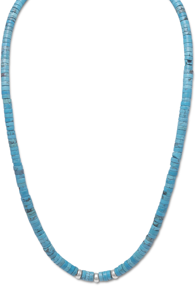 "21"" Turquoise Heshi Bead Necklace 925 Sterling Silver"