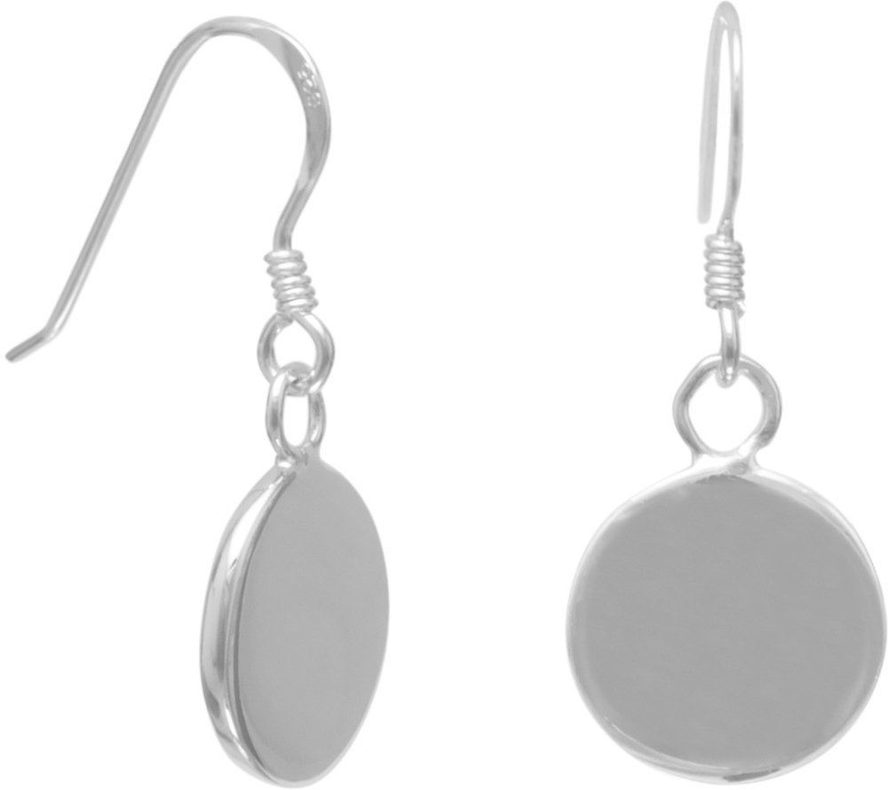 Small Engravable French Wire Earrings 925 Sterling Silver
