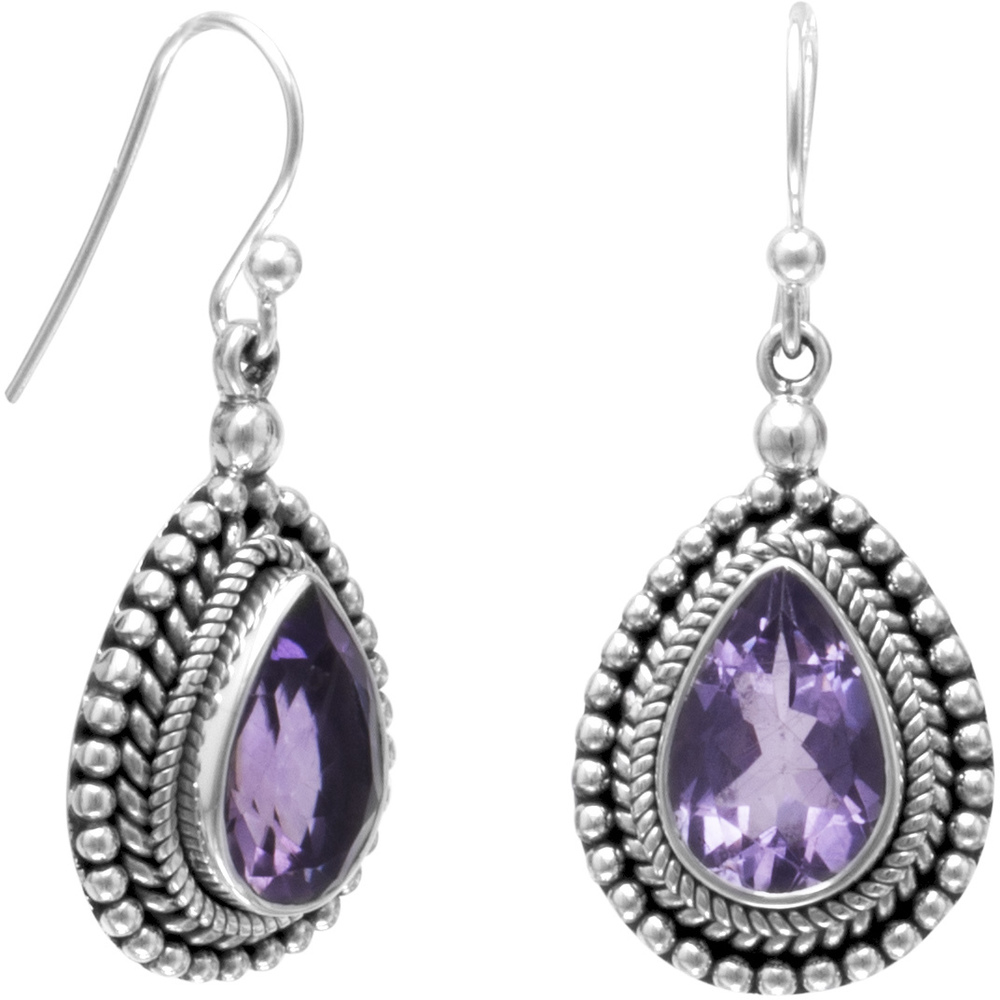 Oxidized Bead Design French Wire Earrings with Amethyst Center 925 Sterling Silver