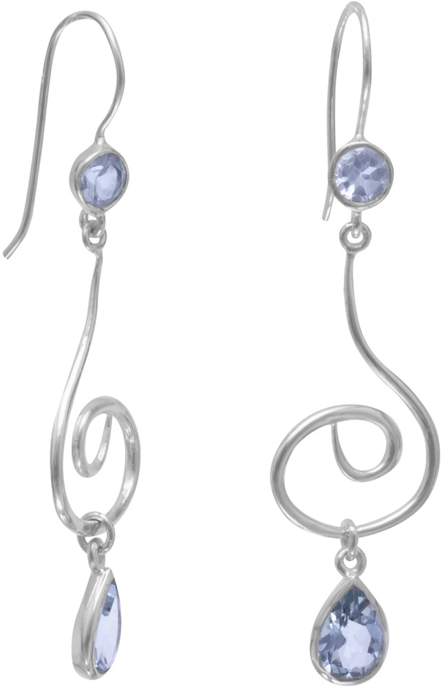 Large Swirl Design French Wire Earrings with Faceted Blue Topaz 925 Sterling Silver