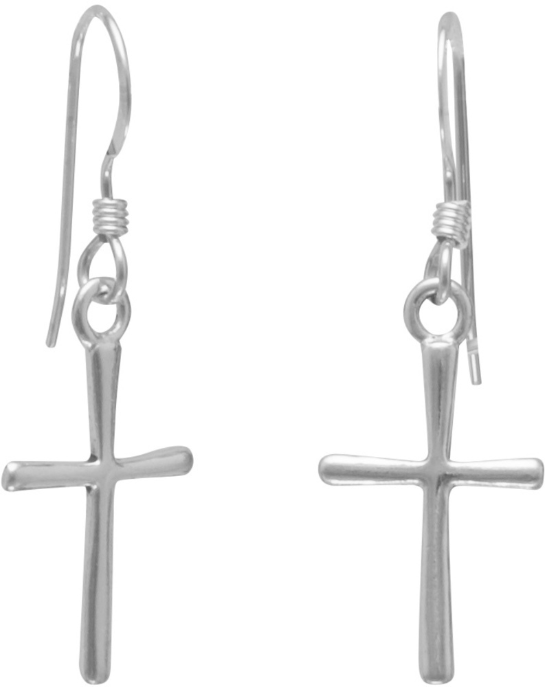 Thin Cross French Wire Earrings 925 Sterling Silver