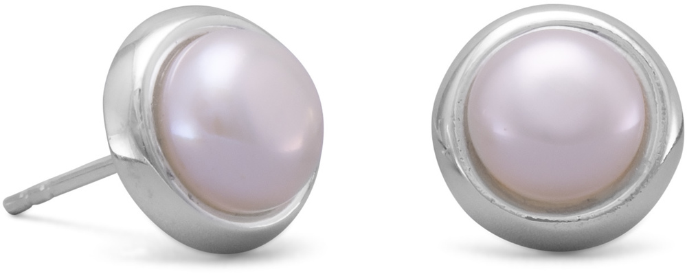 Cultured Freshwater Button Pearl Stud Earrings 925 Sterling Silver