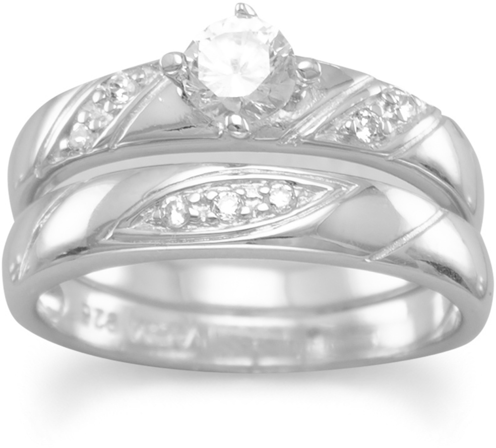 "Rhodium Plated 2 Ring Set with 4.5mm (3/16"") CZ and Diagonal Design Band 925 Sterling Silver"
