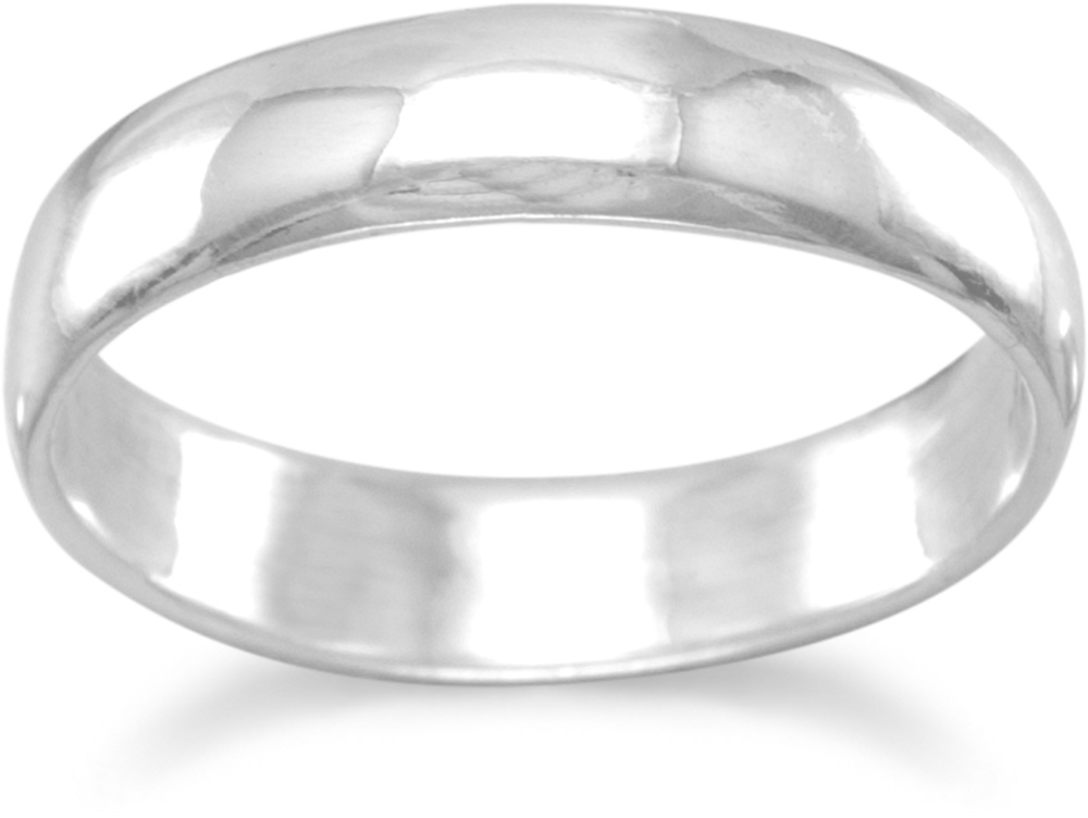 "4mm (1/6"") Polished Solid Band Ring 925 Sterling Silver"