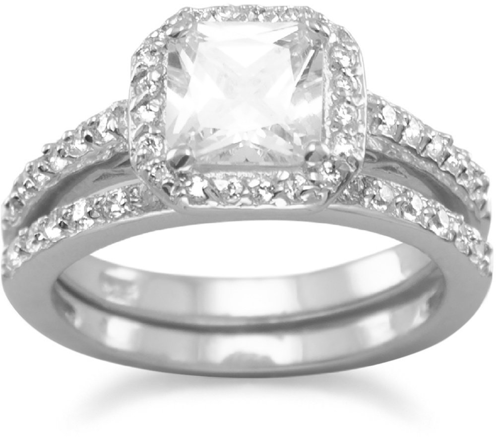 Two CZ Ring Set 925 Sterling Silver