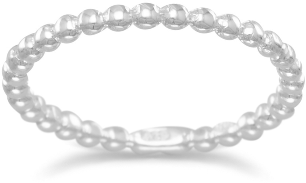 Polished Beaded Band 925 Sterling Silver