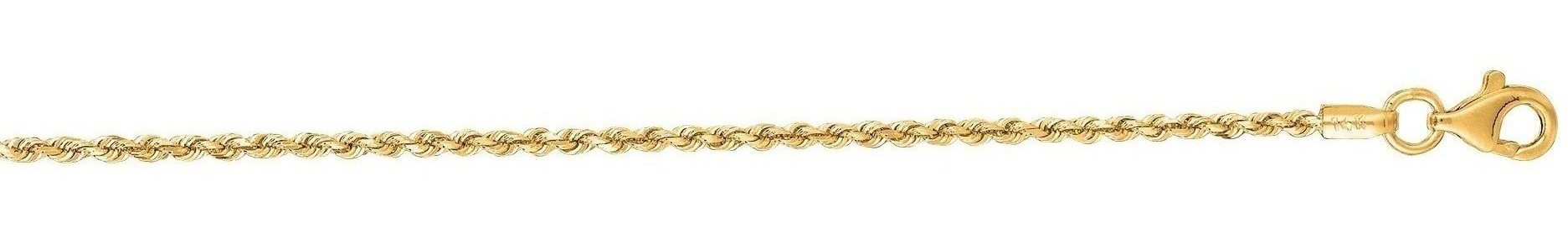 "7"" 10K Yellow Gold 1.50mm (0.06"") Polished Solid Diamond Cut Royal Rope Chain w/ Pear Shape Clasp"