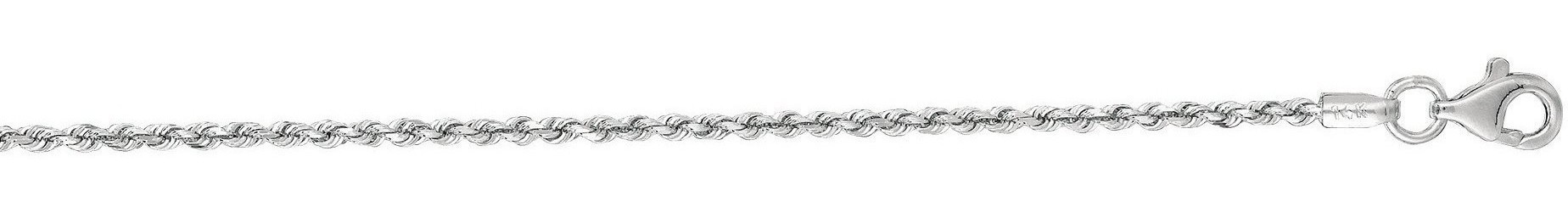 "18"" 10K White Gold 1.50mm (0.06"") Polished Solid Diamond Cut Royal Rope Chain w/ Pear Shape Clasp"