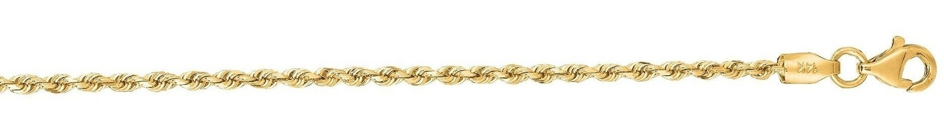 "22"" 10K Yellow Gold 2.0mm (0.08"") Polished Solid Diamond Cut Royal Rope Chain w/ Pear Shape Clasp"