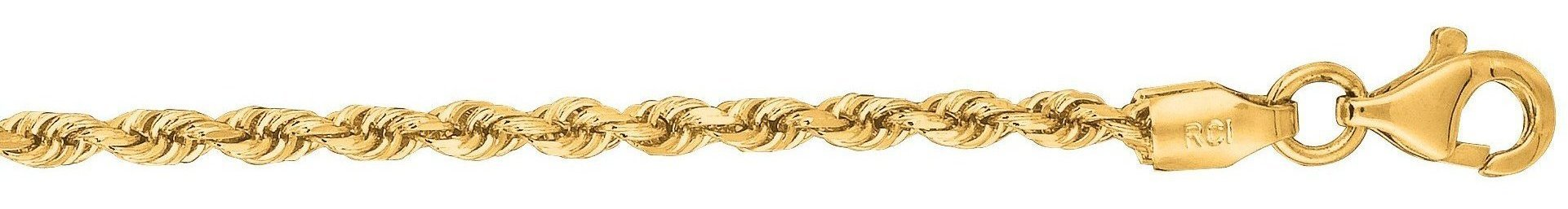 "24"" 10K Yellow Gold 2.25mm (0.09"") Polished Solid Diamond Cut Royal Rope Chain w/ Pear Shape Clasp"