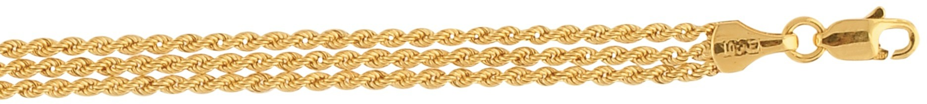 "7.25"" 10K Yellow Gold 1.65mm (0.06"") 3 Strand Rope Chain Ladies Fancy Bracelet w/ Lobster Clasp"