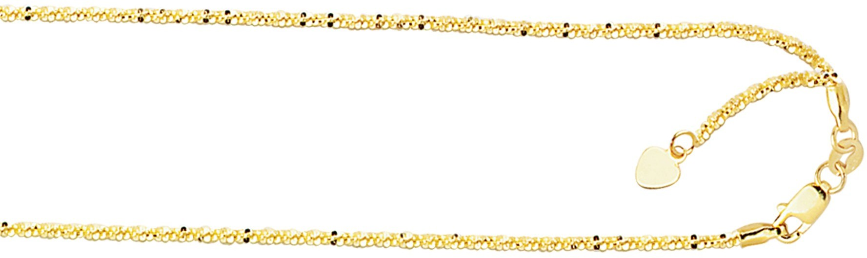 "22"" 10K Yellow Gold 1.50mm (0.06"") Polished Diamond Cut Adjustable Sparkle Chain w/ Lobster Clasp"