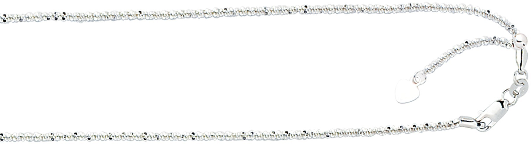 "22"" 10K White Gold 1.50mm (0.06"") Polished Diamond Cut Adjustable Sparkle Chain w/ Lobster Clasp"