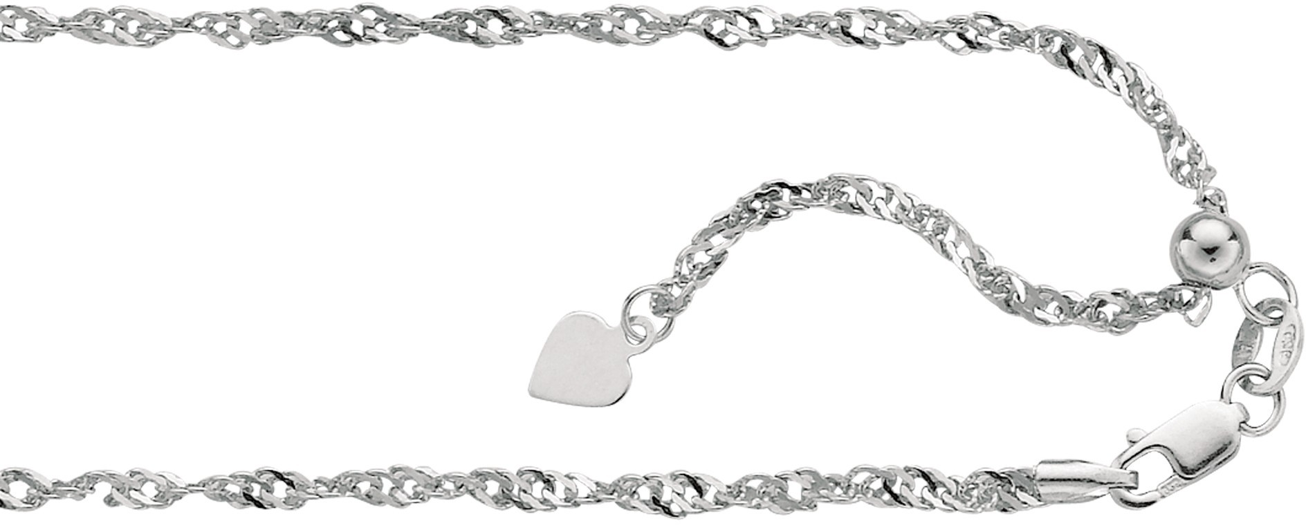 "22"" 10K White Gold 1.1mm (0.04"") Polished Diamond Cut Adjustable Singapore Chain w/ Lobster Clasp"