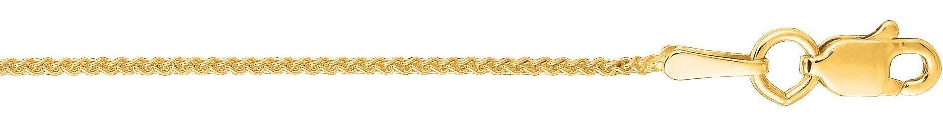 "18"" 10K Yellow Gold 1.0mm (0.04"") Polished Diamond Cut Round Wheat Chain w/ Lobster Clasp"