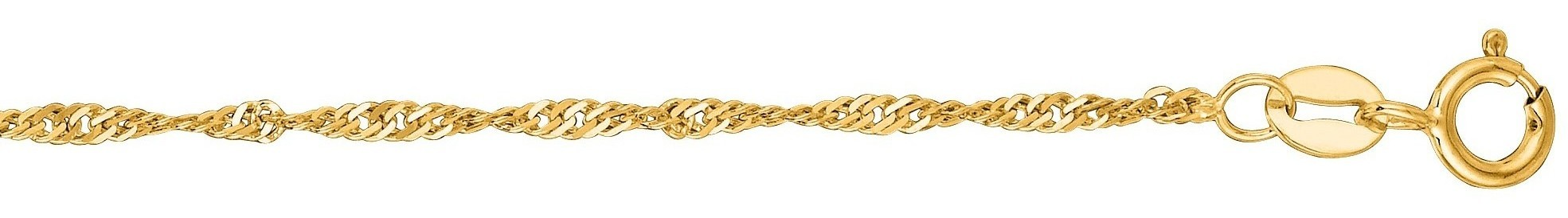 "7"" 10K Yellow Gold 1.5mm (0.06"") Polished Diamond Cut Singapore Chain w/ Spring Ring Clasp"