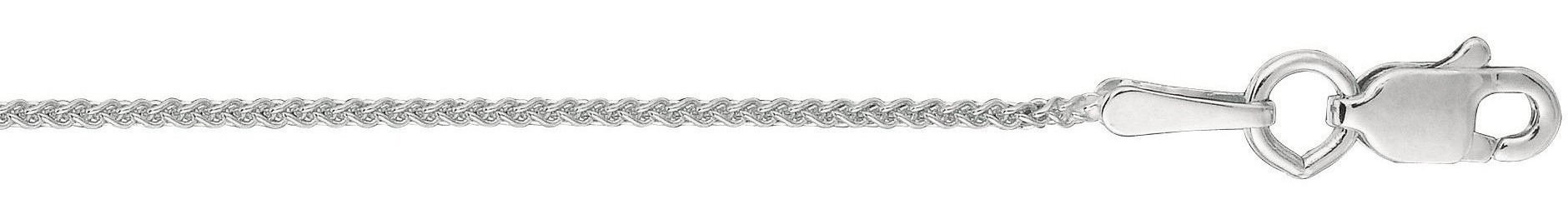 "16"" 10K White Gold 1.0mm (0.04"") Polished Diamond Cut Round Wheat Chain w/ Lobster Clasp"
