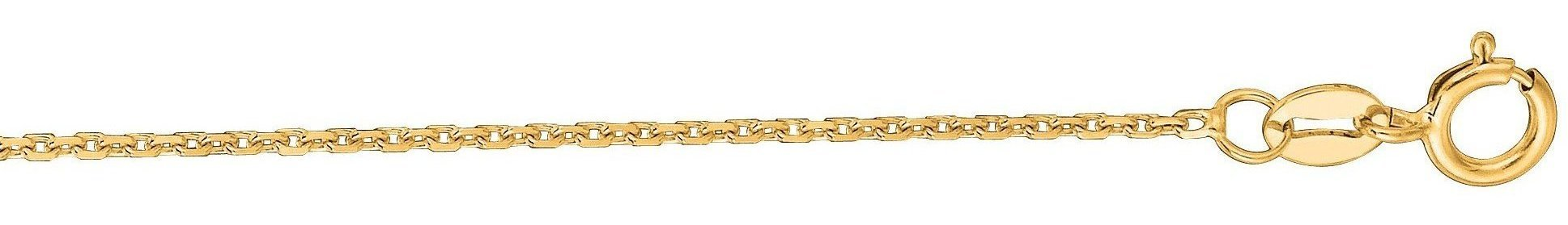 "20"" 10K Yellow Gold 1.1mm (0.04"") Polished Diamond Cut Cable Chain w/ Lobster Clasp"