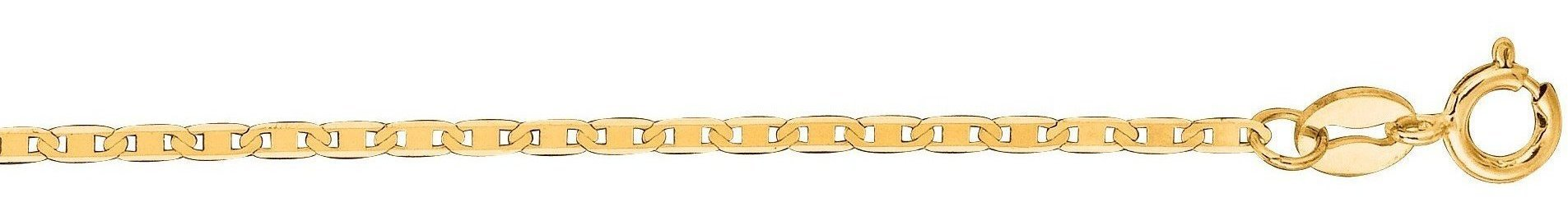 "7"" 10K Yellow Gold 1.20mm (0.05"") Polished Diamond Cut Marina Link Chain w/ Spring Ring Clasp"