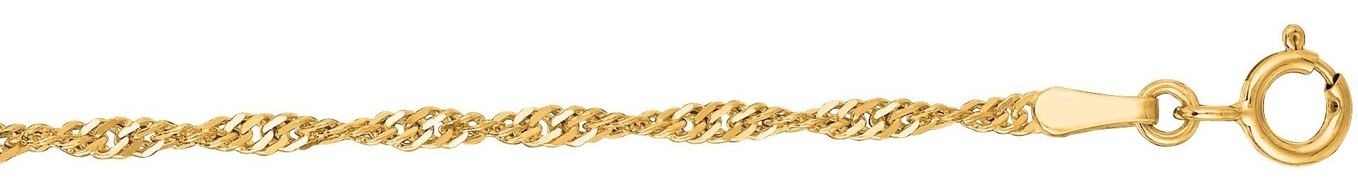 "16"" 10K Yellow Gold 1.7mm (0.07"") Polished Diamond Cut Singapore Chain w/ Spring Ring Clasp"