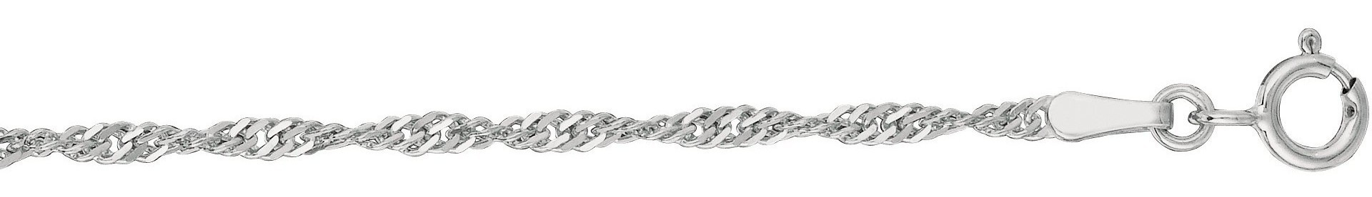 "18"" 10K White Gold 1.7mm (0.07"") Polished Diamond Cut Singapore Chain w/ Spring Ring Clasp"