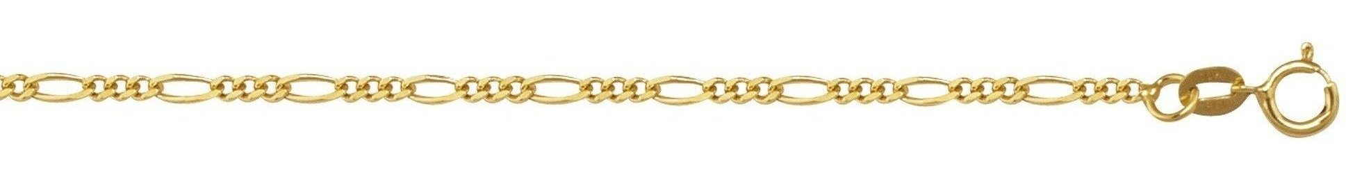 "7"" 10K Yellow Gold 1.90mm (0.07"") Polished Diamond Cut Royal Figaro Link w/ Spring Ring Clasp"
