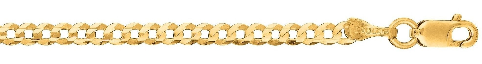 "20"" 10K Yellow Gold 2.8mm (1/9"") Polished Diamond Cut Comfort Curb Chain w/ Lobster Clasp"