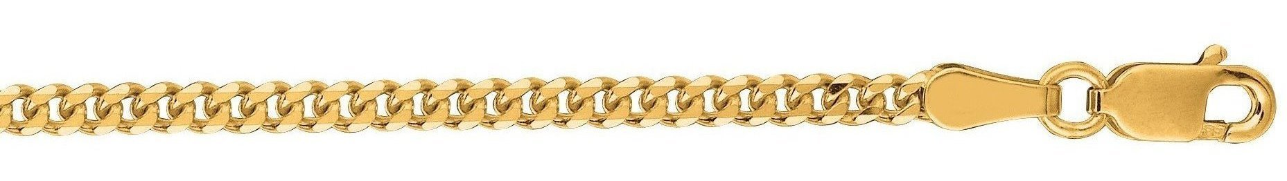 "24"" 10K Yellow Gold 2.0mm (0.08"") Polished Diamond Cut Gourmette Chain w/ Lobster Clasp"