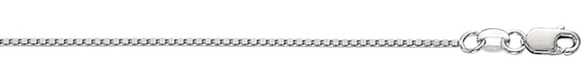 "24"" 10K White Gold 1.0mm (0.04"") Polished Box Chain w/ Lobster Clasp"