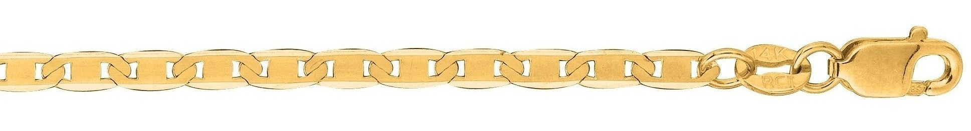 "20"" 10K Yellow Gold 2.30mm (0.09"") Polished Diamond Cut Marina Link Chain w/ Lobster Clasp"