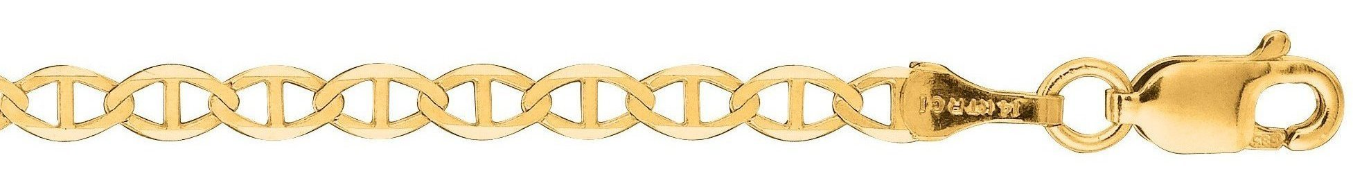 "16"" 10K Yellow Gold 3.20mm (1/8"") Polished Diamond Cut Marina Link Chain w/ Lobster Clasp"