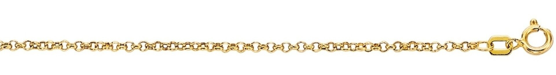 "16"" 10K Yellow Gold 1.90mm (0.07"") Polished Diamond Cut Rolo Chain w/ Spring Ring Clasp"