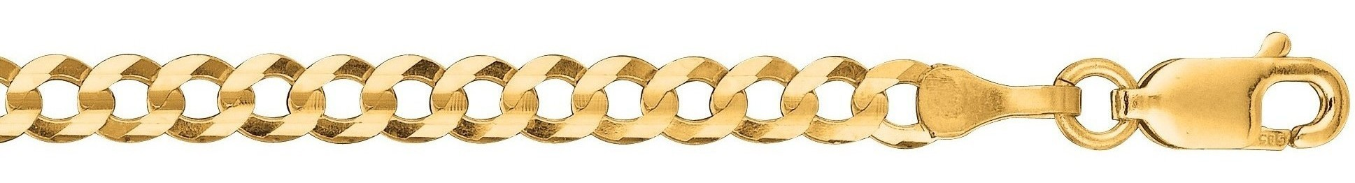 "24"" 10K Yellow Gold 3.20mm (1/8"") Polished Diamond Cut Comfort Curb Chain w/ Lobster Clasp"