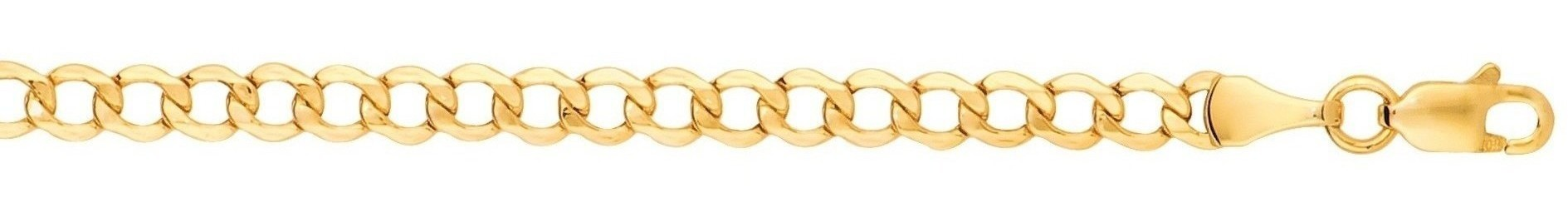"20"" 10K Yellow Gold 4.40mm (3/16"") Polished Diamond Cut Curb Lite Chain w/ Lobster Clasp"