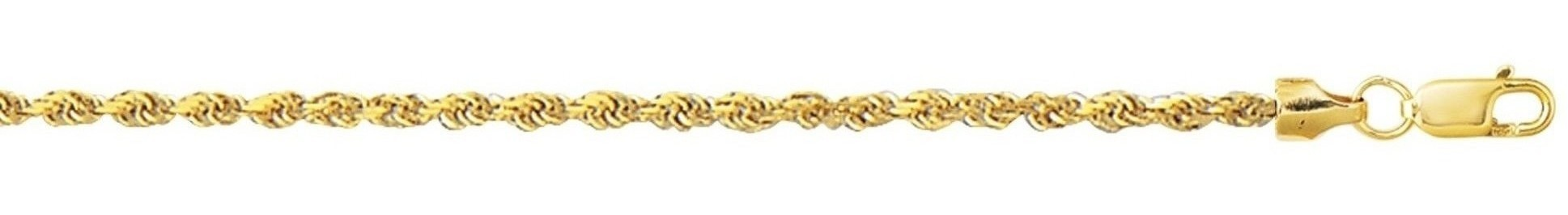 "20"" 10K Yellow Gold 2.0mm (0.08"") Polished Diamond Cut Hollow Sparkle Rope Chain w/ Lobster Clasp"