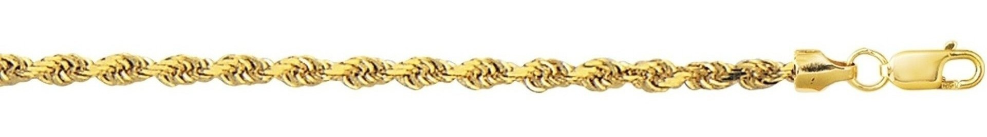 "7"" 10K Yellow Gold 3.20mm (1/8"") Polished Diamond Cut Hollow Sparkle Rope Chain w/ Lobster Clasp"