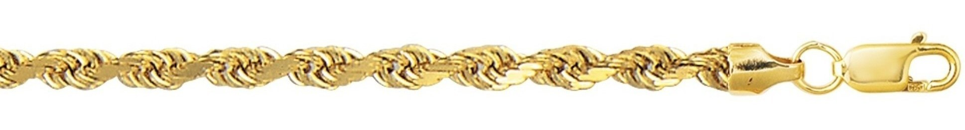 "8"" 10K Yellow Gold 4.0mm (1/6"") Polished Diamond Cut Hollow Sparkle Rope Chain w/ Lobster Clasp"