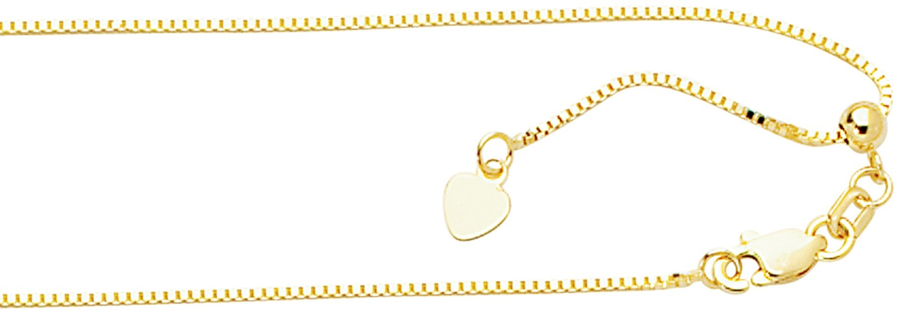 "22"" 10K Yellow Gold 0.85mm (0.03"") Polished Classic Adjustable Box Chain w/ Lobster Clasp"