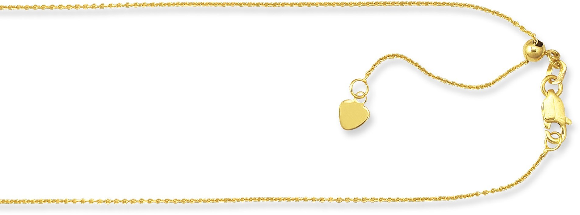 "22"" 10K Yellow Gold 0.90mm (0.04"") Polished Diamond Cut Adjustable Cable Chain w/ Lobster Clasp"