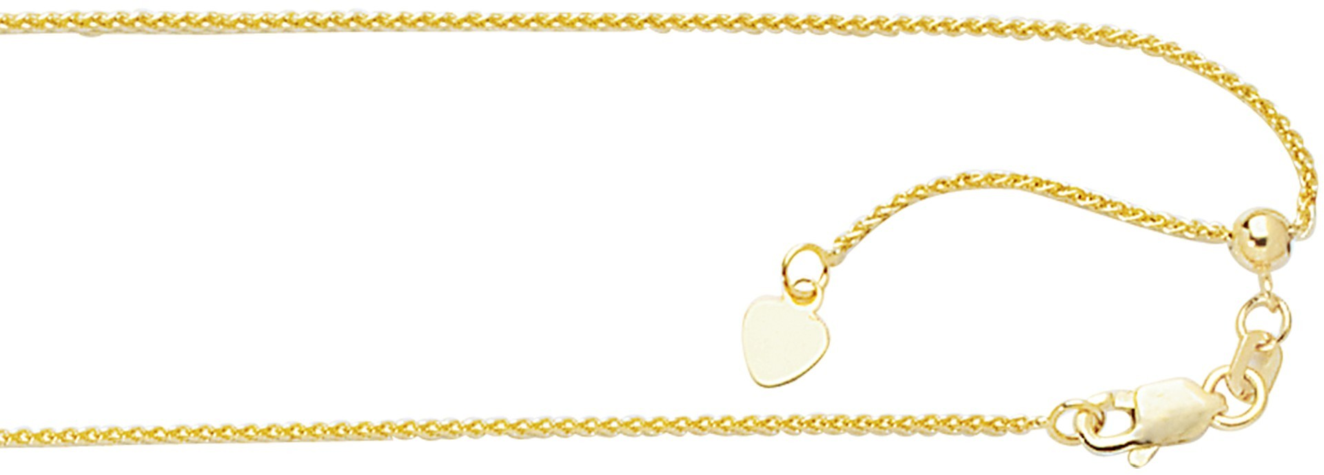 "22"" 10K Yellow Gold 1.0mm (0.04"") Polished Diamond Cut Adjustable Wheat Chain w/ Lobster Clasp"